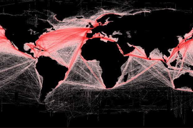 Shipping routes shown in red on a world map