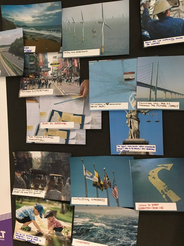 Images relating to the sea that were used at the workshop. For example: wind turbines, waves, flags.