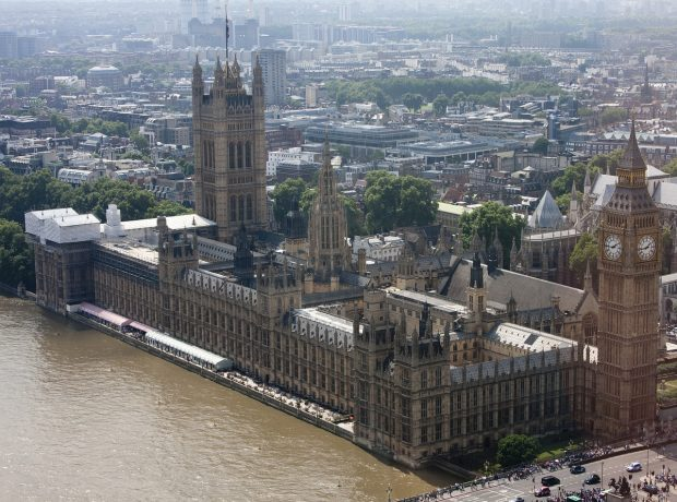 An aerial view of the UK Houses of Parliament.
