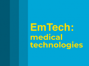 Text reading 'EmTech: medical technologies' on a blue background.
