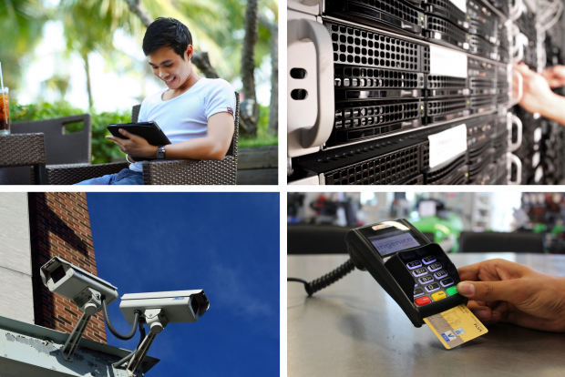 Future of Citizen Data Blog image, showing a man on a tablet, a data server, CCTV cameras, and a payment machine