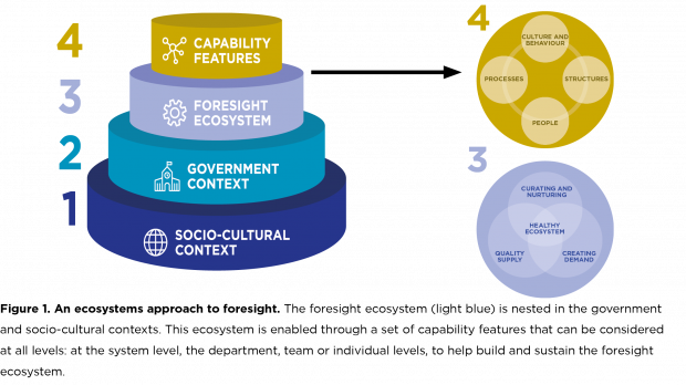 This diagram shows the ecosystem as comprising four nested layers (from largest to smallest: socio-cultural context, government context, foresight ecosystem and capability features). The capability features layer is expanded to show (1) culture and behaviour, (2) structures, (3) people and (4) processes.